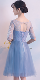 Light Blue Short Sleeves Tulle Party Dress 2019, Tull Homecoming Dresses 2019