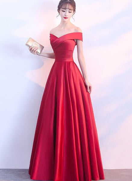 red satin off the shoulder gown