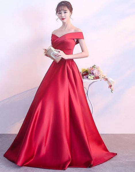 Charming Red Satin A-line Long Prom Dress, Beautiful Red Gown 2019