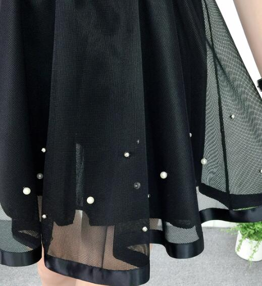 Lovely Tulle Layers High Waist Skirt, Black Tulle Skirt 2019 with Pearls