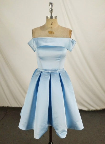 Charming Light Blue Off the Shoulder Knee Length Bridesmaid Dress, Party Dress 2019
