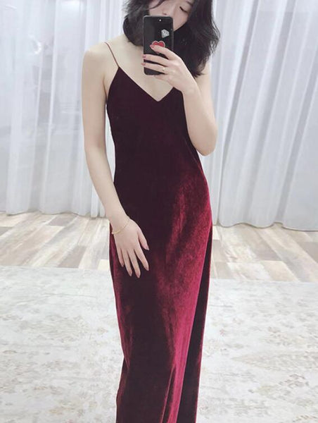 Wine Red Straps Sexy Velvet Evening Gown, Long Party Dresses 2019