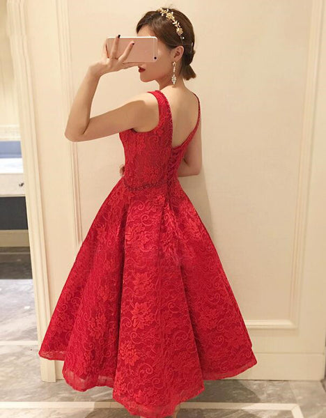Red Lace Round Neckline Tea Length Party Dress, Cute Party Dress 2019