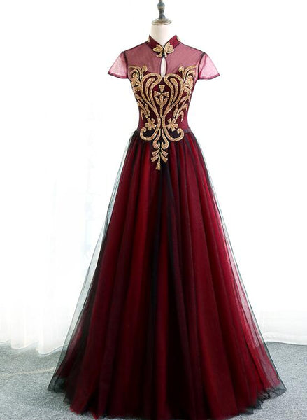 wine red cap sleeves gown