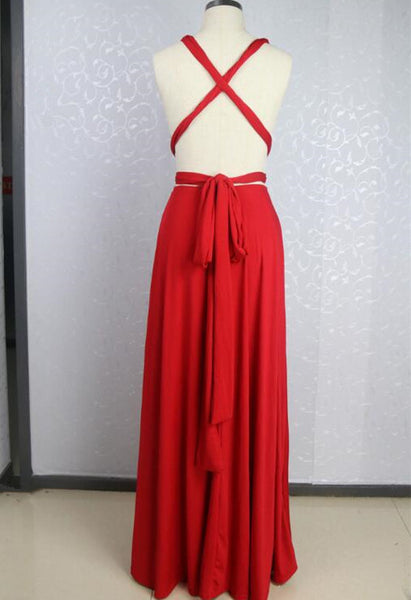 Beautiful Red Simple Cross Back Long Bridesmaid Dress, Charming Party Dress