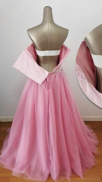 Charming Handmade Beaded Pink Long Formal Gown, New Prom Dress