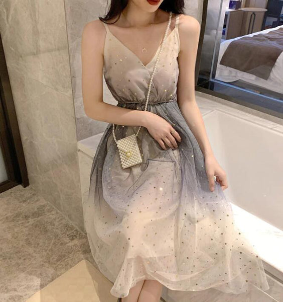Lovely Tulle Gradient Cute Straps Women Dress, New Fashion Dress