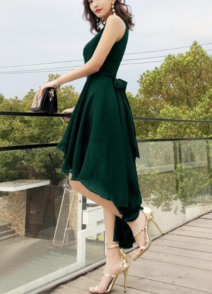 Chic High Low Chiffon Halter Party Dress with Belt, Beautiful Formal Dress