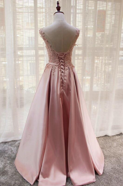 Beautiful Pink Satin V-neckline Party Gown 2019, Handmade Lace Top Fashion Formal Dress 2019