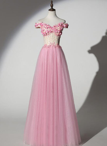 pink off shoulder tulle prom dress