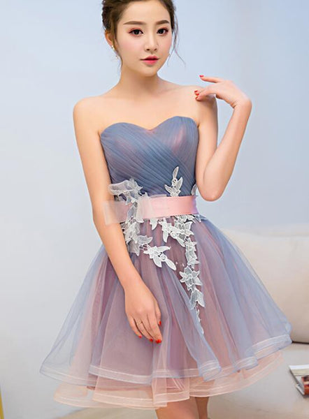 blue and pink knee length homecoming dress
