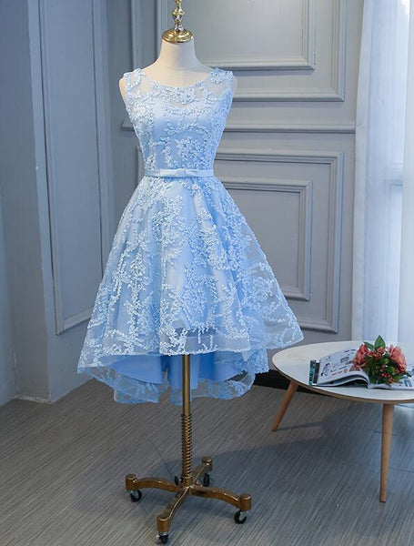 Charming Lace Round Neckline High Low Party Dress with Belt, Cute Party Dress