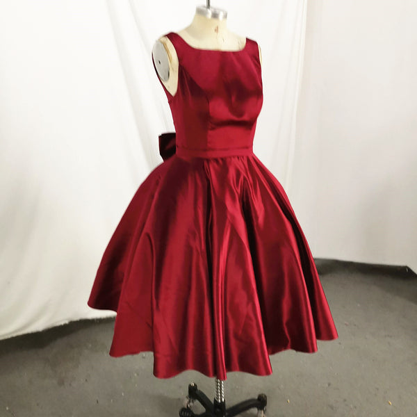 Dark Red Satin Backless Vintage Style Party Dress with Bow, High Quality Handmade Dress