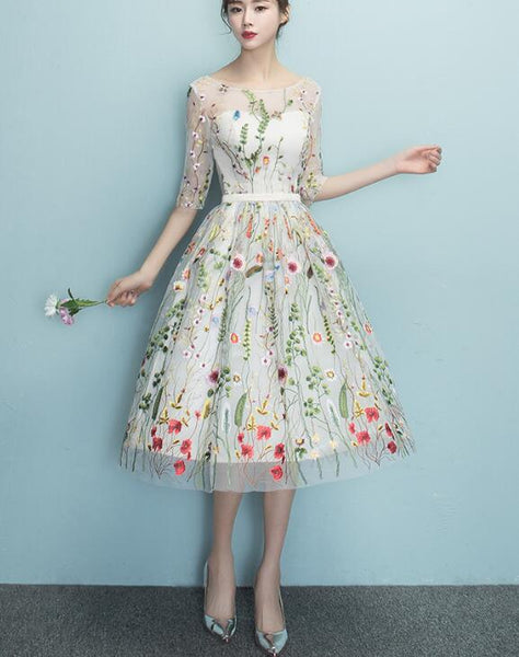 Lace Floral Elegant Knee Length Round Neckline Party Dress