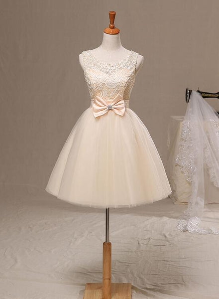 cute champagne homecoming dress