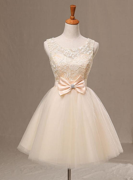 New Champagne Knee Length Party Dress with Bow, Cute Homecoming Dress