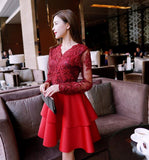Charming Pink Lace Long Sleeves Layers Homecoming Dress, Lovely Party Dress