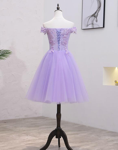 Light Purple Lace and Tulle Off the Shoulder Homecoming Dress, Short Party Dress