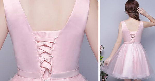 Lovely Pink and Satin Knee Length Formal Dress, Cute Formal Dress 2019