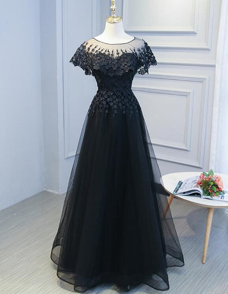 Black Sweetheart Lace and Tulle Long Party Dress, Elegant Bridesmaid Dress