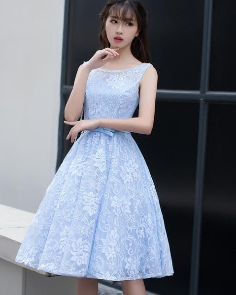 Light Blue Lace Knee Length Round Neckline Party Dress, Charming Blue Prom Dress