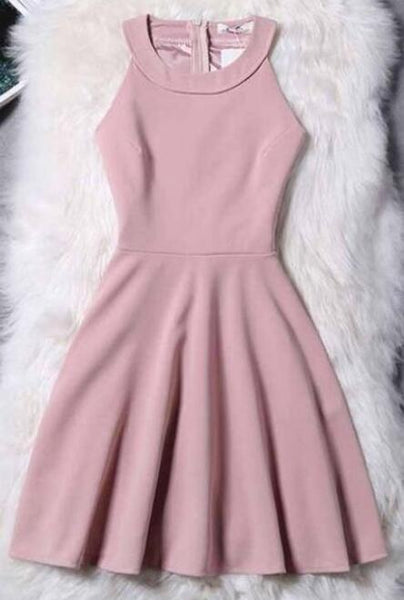 Chiffon Short A-line/Princess Evening Dresses, Pink Sleeveless Homecoming Dress
