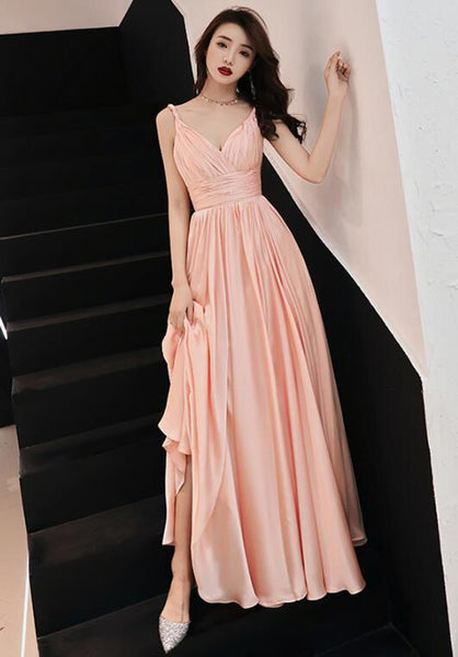 Pink V-neckline Chiffon Long Prom Dress, Junior Prom Dress