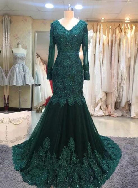 dark green prom dress