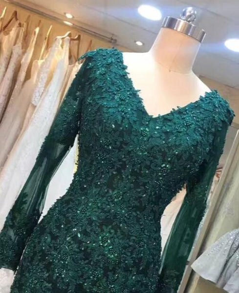 Dark Green Long Sleeves V-neck Lace Mermaid Formal Dresses, Elegant Prom Dress