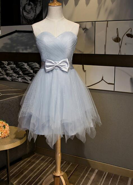 Beautiful Simple Grey Tulle Party Dress with Bow, Lovely Formal Dress