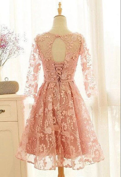 Pink Long Sleeves A-line Scoop Short/Mini Homecoming Dress, Lace Prom Dress