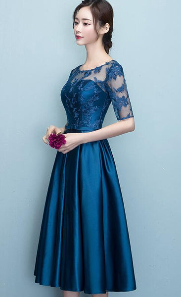 Blue Short Sleeves Tea Length Formal Dress, Blue Bridesmaid Dresses, Wedding Party Dresses