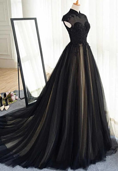 Beautiful Black Prom Dresses High Neck Sweep Train Prom Dress, Black Party Dress