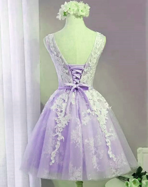 Cute Lavender Tulle Lace Applique Homecoming Dress , Short Prom Dress