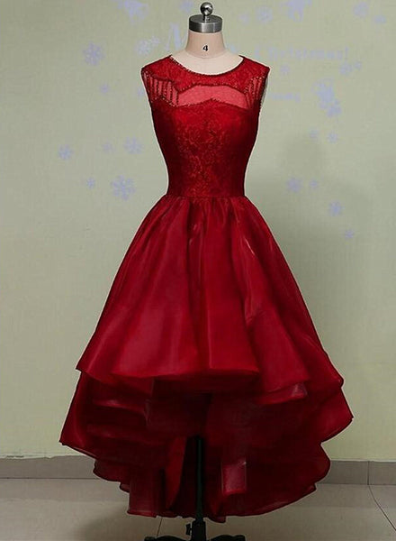 wine red organza high low party dress