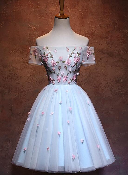 Lovely Light Blue Tulle Knee Length Homecoming Dress, Cute Floral Party Dress