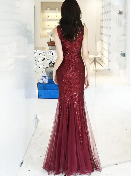Wine Red Sequins with Tulle Mermaid Party Gown, Burgundy Prom Dress 2020