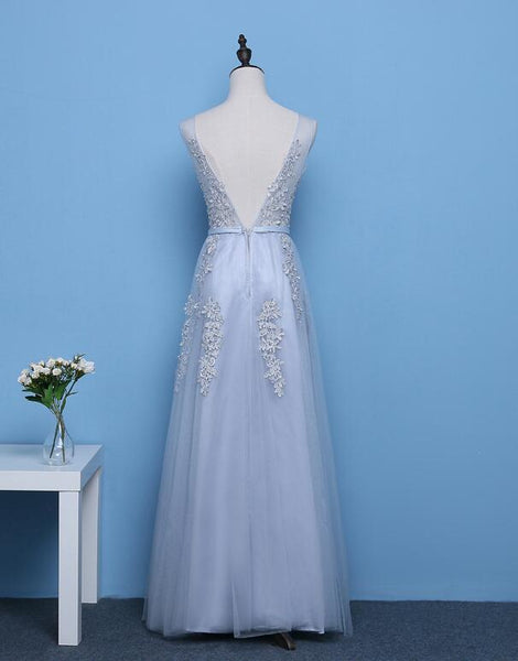 Cute A-line Grey Tulle Long Prom Dress, Lace Applique Party Dress