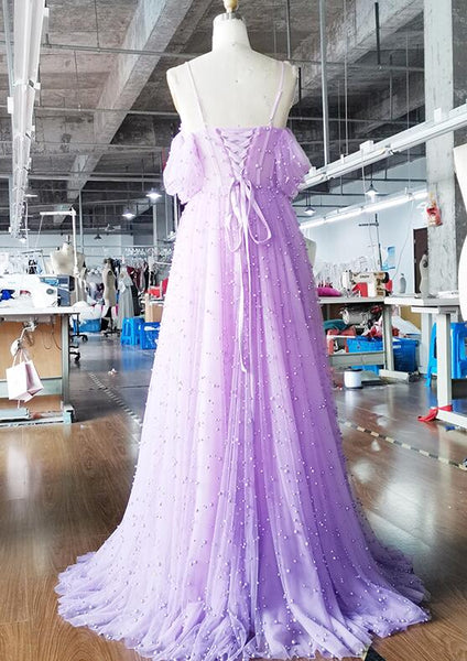 Elegant Light Purple Straps Long Prom Dress, New Lavender Prom Dress 2020