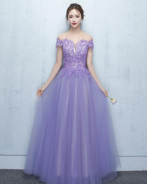 Light Purple Tulle with Lace Applique Off Shoulder Party Gown, Prom Dress 2020