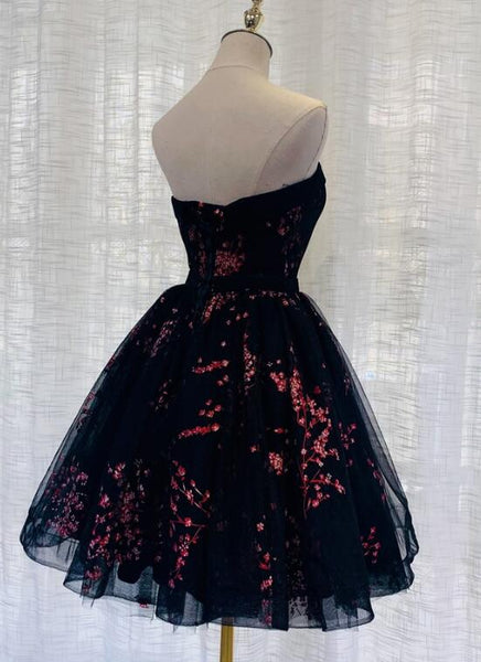 Black Tulle Scoop Homecoming Dress, Lovely Black Party Dress