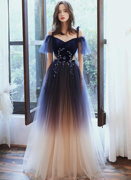 Cute A-line Off Shoulder Gradient Tulle Long Party Dress, New Prom Dress