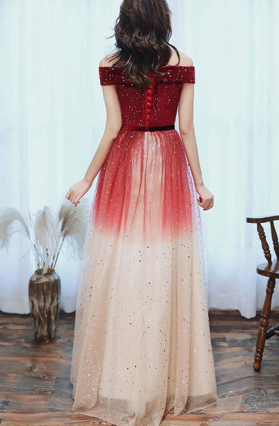 Off Shoulder Red Tulle Long Gradient Formal Dress, New Prom Dress Wedding Party Dress