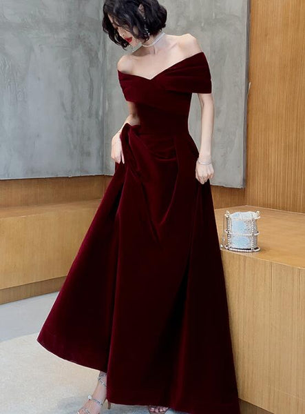 Beautiful Dark Red Velvet Off Shoulder Bridesmaid Dress, A-line Long Prom Dress