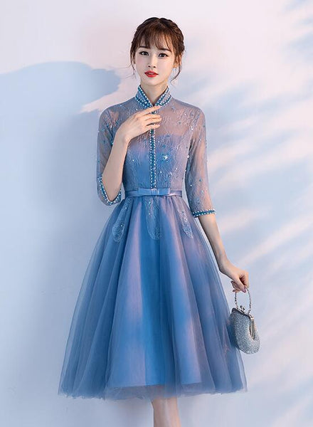 Beautiful Blue Knee Length Beaded Homecoming Dress, Short Sleeves Prom Dress