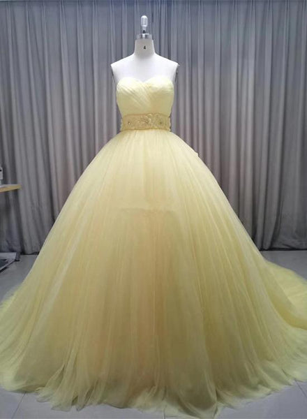 Glam Yellow Sweetheart Flowers Sweet 16 Gown, Yellow Formal Gown 2020