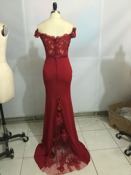 Burgundy Off Shoulder Prom Dresses 2018, Party Dresses, Long Bridesmaid Dresses 2018