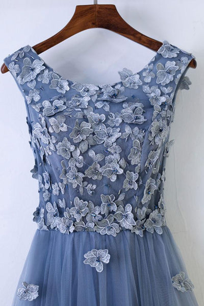 Blue Tulle Round Neckline Floor Length with Flowers Applique, Beautiful Evening Gown