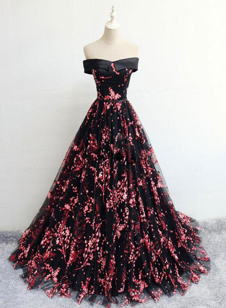 Black Tulle Off Shoulder Flowers Elegant Lace-up Evening Party Gown, Black Formal Dress
