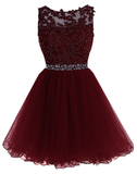 Maroon Tulle Lace and Beaded Homecoming Dress, Lovely Blue Formal Dress 2019